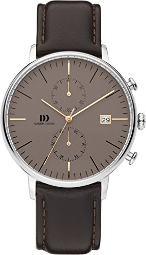 Danish Design Men's Quartz Watch with Brown Dial Analogue Display and Black Leather Strap DZ120578
