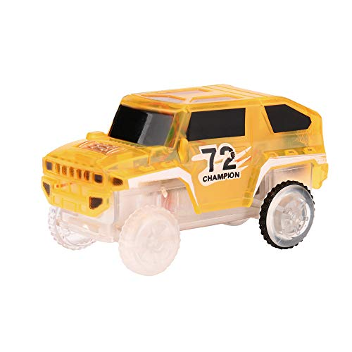 Gaddrt 8.6*4.6*4cm Elektronik-Spezialauto für Magic Track Spielzeug mit blinkenden Lichtern Comic-Auto (Yellow) - 4-track-lichter