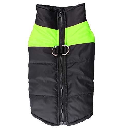 Lanking Pet Cotton Vest Wasserdichte Jacken, Hund Kalt Proof Warm Winter Reißverschluss Kleidung Mantel Skibekleidung (Grün, S)