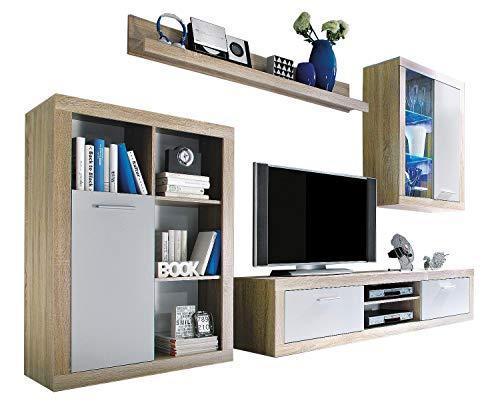 Avanti trendstore - mero - parete da soggiorno, laminato colore quercia sonoma chiaro/bianco, illuminazione led compresa, dimensioni: lap 270x200x40 cm