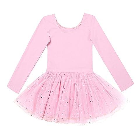iEFiEL Kinder Ballettanzug Ballett Tütü Trikot mit Röckchen Mädchen Langarm Kleid Ballettkleid Ballett Rock (Rosa (glänzend Rock), 110-116)