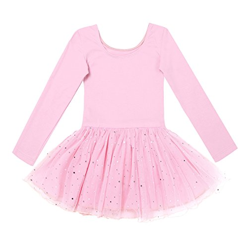 Mädchen Tutu (iEFiEL Kinder Ballettanzug Ballett Tütü Trikot mit Röckchen Mädchen Langarm Kleid Ballettkleid Ballett Rock (Rosa (glänzend Rock),)