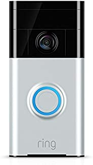 Ring Video Doorbell - Satin Nickel - Rechargable Battery Powered WiFi Doorbell Security Camera with Two way ta