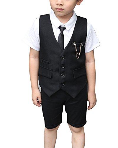 Junge Kinder Kind Anzug Hochzeit Anzüge Weste + Kurzarm Hemd + Kurze Hose Set