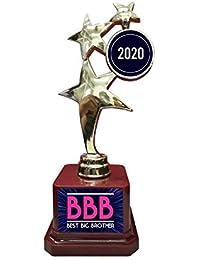 Yaya Cafe™ Birthday Bhaidooj Gift for Brother, Best Big Brother Trophy Award for Brother - Star Golden