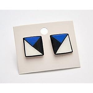 Handbemalte Schrumpf Kunststoff Ohrringe Kleine Quadrate 3
