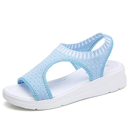 New Sandals Women Casual Shoes for Summer Breathable Mesh Slip-on Platform Flat Shoes with Peep Toe Soft Light Stylish Female Blue 6