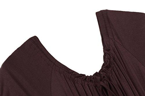 Meaneor Damen Renaissance Maxikleid Falten Empire Kleid Stretch Tailliert Kurzarm Herbst Dunkelbraun