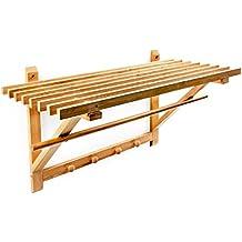 Relaxdays 10017155 - Estantería de pared con perchero bambú organización del hogar perchero pasillo