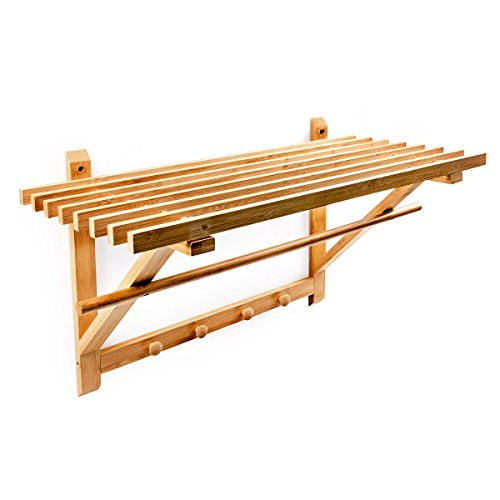 Relaxdays Wandgarderobe mit Hutablage und Kleiderstange HBT ca. 35 x 60 x 30 cm Wandregal mit Hakenleiste und Handtuchstange als Badregal mit Handtuchhalter oder Hängeregal aus Bambus Holz, natur
