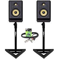 "KRK Rokit RP5 G4 Professional Active Powered 5"" DJ Studio Monitor Speakers (Pair) inc Gorilla Stands & 3m XLR-RCA Cable"