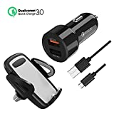 Seenda Car Phone Holder & Dual USB Car Charger Kit 3-in-1 Car Phone Mount Air Vent Dashboard Windshield Phone Holder Cradle+ Quick Charge 3.0 and 2.4A Port Rapid Charger