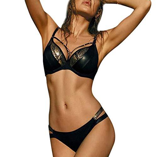 hmtitt Frauen Bikini Set, Sommer Schwimmen Kostüm Badeanzüge Snakeback Backless Nähte Bandage Sexy Bikini Set ()