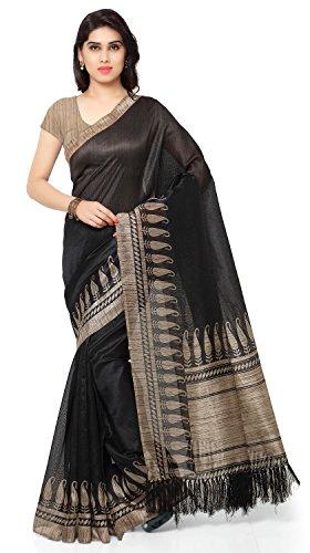 Rajnandini Women's Tussar Art Silk Saree (Joplnb3009, Black Color, Free Size)