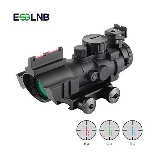 ESSLNB Zielfernrohr 4x32mm Airsoft Red Dot Visier Leuchtpunktvisier mit Fiberoptic und 20mm/22mm Montage für Luftgewehr Jagd Softair und Armbrust (Scope Airsoft)