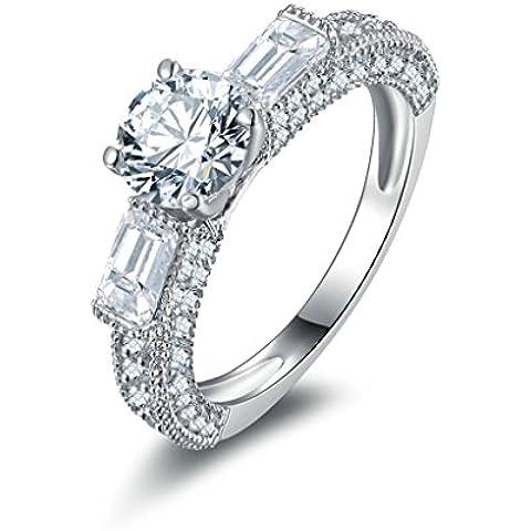 (Personalizzati Anelli)Adisaer Anelli Donna Argento 925 Anello Fidanzamento Incisione Gratuita Ovale Doppio Anello Diamante 2 Corpo a Rettangolo - 14k Dell'anello Indiano