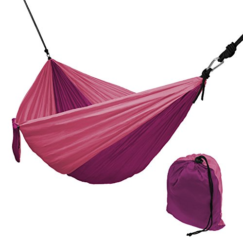 Hängematte Ultraleicht aus Fallschirm Nylon 265 x 140 cm in verschiedenen Farben Traglast 300 kg Reisehängematte Outdoor Camping Reise-Hängematte inkl. Befestigungs-Set, Farbe:Purple Rose
