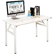 Need Mesa Plegable 140x60cm Mesa de Ordenador Escritorio de Oficina Mesa de Estudio Puesto de trabajo Mesas de Recepción Talla grande, Blanco