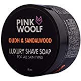 Pink Woolf Luxury Shaving Soap, Oudh & Sandalwood,Luxuriously Thick Lather with Scintillating Fragrance, 80 gm