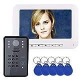 XH&XH 7-Zoll-RFID-Passwort-Bildtelefon-Türklingel, intelligentes visuelles Zugangskontrollsystem für Zuhause, IR-Cut 1000TVL HD-Infrarot-Nachtsichtkamera, wetterfeste Abdeckung, Antioxidationsschutz