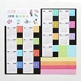 YeahiBaby 2 stücke Mini 2018 Kalender Aufkleber Kalender Paging Sticky Etiketten Selbstklebende Tabs Stick Monatliche Index Teiler (Schwarz Substrat)