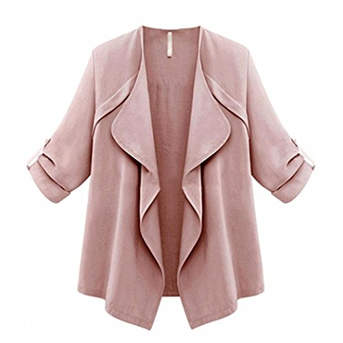 Longra Damen Modus operandi Lang Mantel Trenchcoat Damen Winter Jacke Trench Windbreaker Parka Outwear Frauen Maxi Cardigan Strickjacke Asymmetrisch Strickmantel Mantel (L, Pink)