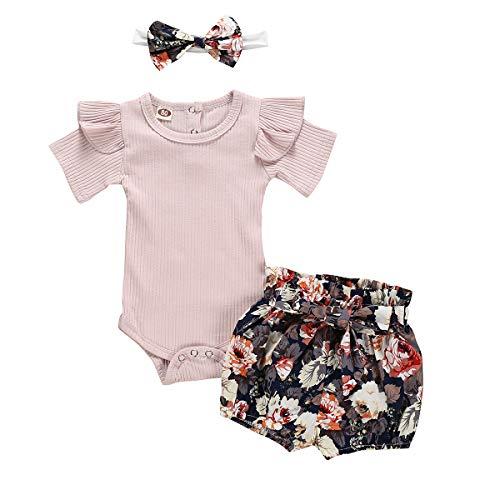 puseky Baby Mädchen Rüschen Strampler Tops Bowknot Floral Bloomer Shorts Stirnband Kleidung (0-6 Monate, Pink) -