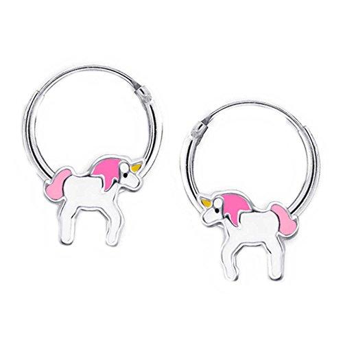 FIVE-D - Pendientes de aro para niños, diseño de unicornio, plata de