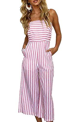 ECOWISH Damen Jumpsuit Sommer Overall Sexy Gestreiften Hosenanzug Ärmellos Playsuit Breites Bein Romper Rosa M -