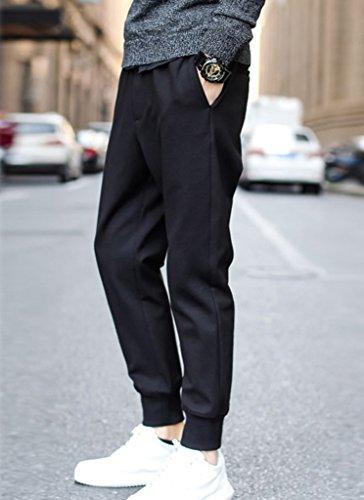 Minetom Homme Mode Pantalon Casual Loisir Business Slim Fit Pantalon Grande Taille Noir