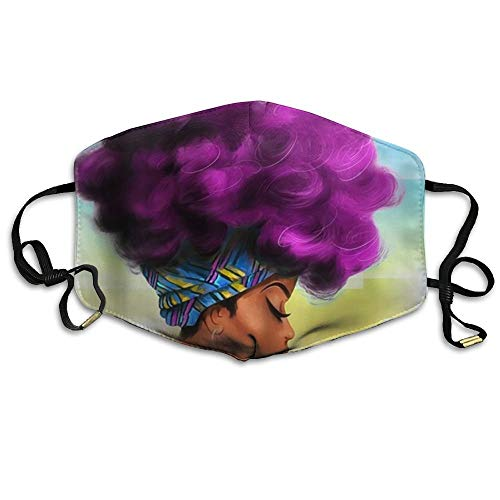 Masken, Masken für Erwachsene, Unisex Unique Mouth Mask, African Women with Purple Hair Reuseable Polyester Face Mouth Mask Respirator for Cycling Anti-Dust for Unisex Men Women Girls