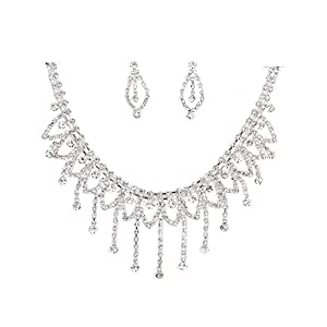 Bling Bling Diamanten Glaskristall Halskette und Ohrringe-Set