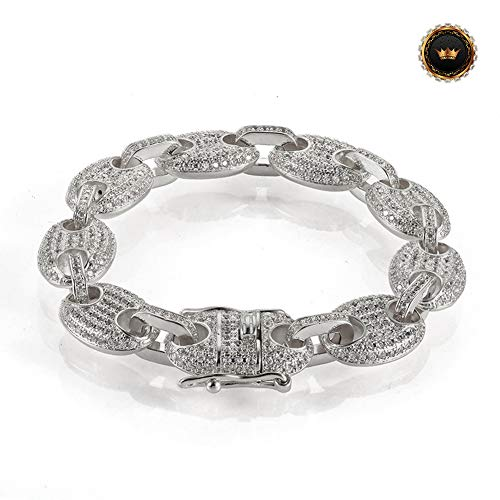 Z-Bracelet@ Hip Hop Chain Link Armband Für Mens Womens Rapper Kubanischen 3A Weißen Zirkon Link Armbänder Schmuck Geschenk,Whitegold,8inch -