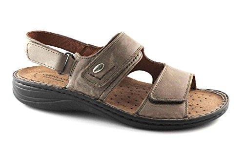GRÜNLAND LINO SE0066 dunkelbraun Lederriemen herausnehmbares Fußbett-Sandalen Männer Marrone