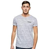 Tom Tailor Men's Print Regular Crew Neck Short Sleeve T-Shirt, White(Grey Melange), Large