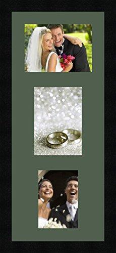 Bilderrahmen multivues Vert foret 1 Foto(s) 19x14 and 1 Foto(s) 14x19 and 1 Foto(s) 12x16 Passepartout, Wand Bilderrahmen 24x58 cm Schwarz, 3 cm breit (Diplom 12 X 16 Rahmen)