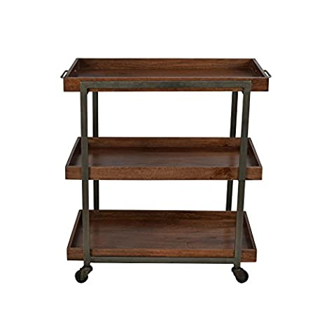 Summer Rain Rolling Cart Wood Dining Kitchen Trolley Tableware Storage With Drawers Table