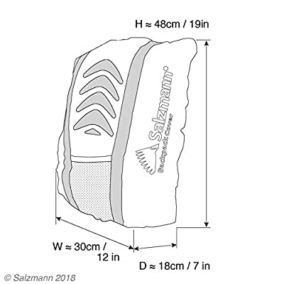Salzmann 3M Rucksacküberzug, Wasserdichte Rucksackschutzhülle, ausgestattet mit 3M reflektierendem Material, ideal bei schlechtem Licht und Dunkelheit