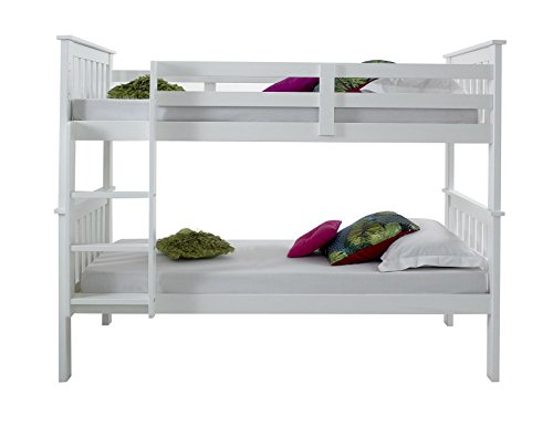 Happy Beds Atlantis White Finished Solid Pine Wooden Bunk Bed With 2x Luxury Spring Mattress