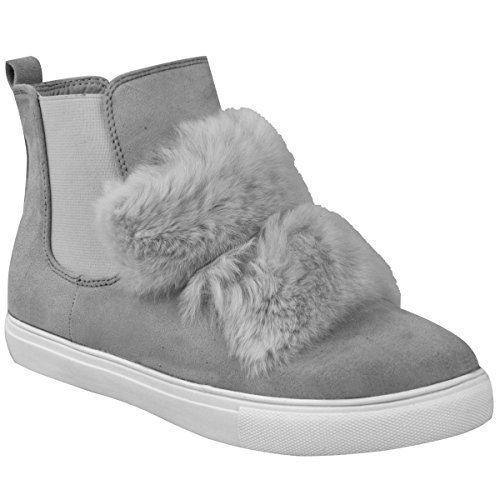 Damen Flach Anziehen Knöchel Chelsea Stiefel Turnschuhe Pelz Flauschig Sneakers Größe Grau Kunstwildleder