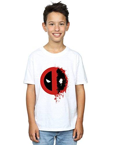 Marvel Jungen Deadpool Split Splat Logo T-Shirt 12-13 Years Weiß