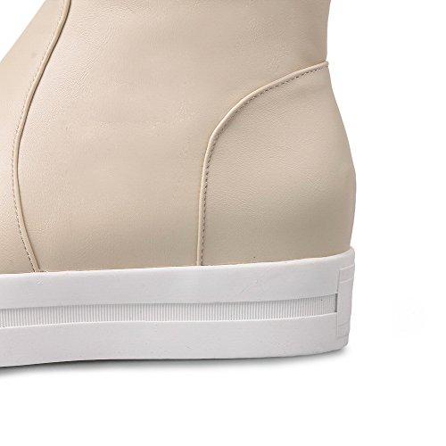 VogueZone009 Damen Reißverschluss Rund Zehe Niedriger Absatz Niedrig-Spitze Stiefel Aprikosen Farbe