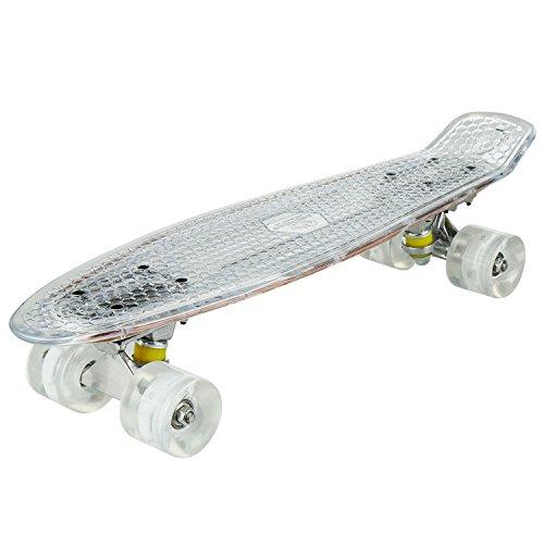 ard 55cm Skateboard mit oder ohne LED Deck,alle mit LED Leuchtrollen,mit USB Kabel aufzuladen (Mini-skateboards)