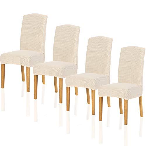 Parsons Stuhl Stoff Stuhl (TIANSHU Stuhlhussen 4er Set, Stretch Stuhlbezug,sehr pflegeleicht und langlebig Universal,Restaurant Stuhldekoration,Hochzeit Partys Bankett Deko(4er,Beige))