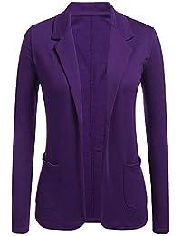 ZODOF Americana Profesional de Mujer Abrigos Largos Abiertos de la Chaqueta  del Color sólido de Las c23fe87c664a
