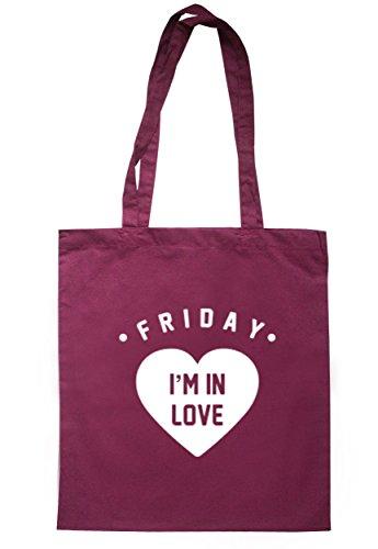 Breadandbutterthreads Friday I' m in love Tote 37.5cm x 42cm con manici lunghi Maroon