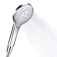 Funria Handheld Shower Head Massage Shower Heads Water-Saving High Pressure Shower Head Chrome Plated with 3 Spray Modes