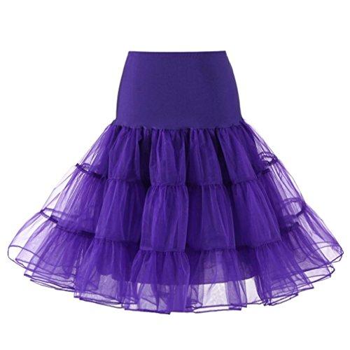 OVERDOSE Damen 1950 Petticoat Reifrock Unterrock Petticoat Underskirt Crinoline für Rockabilly Kleid Karneval Kostüm Kleid Faschingskostüme(A-Purple,XL) (Schwarze Und Weiße Indianer Kostüm)