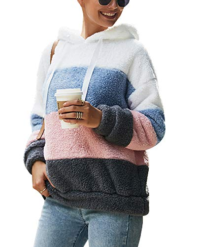 Ehpow Damen Kapuzenpullover Teddy-Fleece Hoodies Sweatshirt Oberteil Pullover (Large, A-grau)