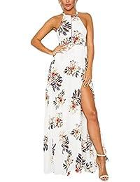 Lannister Fashion Donna Eleganti Vestiti da Sera Estivi Lungo Stampato  Floreale Abito da Cerimonia Backless Linea 1223cdf31d4